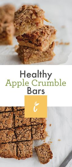 Healthy Apple Crumble Bars - Inspiralized These healthy vegan apple crumble bars are gluten free and made with all natural, wholesome ingredients, like almond flour, coconut oil, and cinnamon. Spiralized apples make these bars easy and fun to make. Healthy Apple Crumble, Healthy Apple Desserts, Apple Crumble Recipe, Healthy Bars, Apple Dessert Recipes, Healthy Baking, Gourmet Recipes, Healthy Recipes With Apples, Apple Recipes Healthy Clean Eating