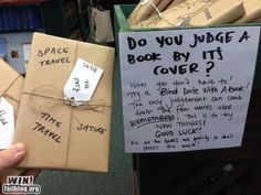 Don't judge a book by its cover- book blind dates! (If this is a bookstore, I want to go to it)