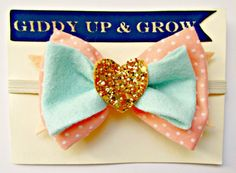 Baby Bow Headband - Vintage Fabric Peach and Mint with Gold Glitter Heart