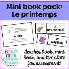 """French spring mini book pack - Le printemps!    Includes:   ♦ 11 word wall cards (that match the vocabulary in the book)  ♦ 11 page teacher book """"Je vois______""""  ♦ Large """"Smack"""" images - to use for the game (see preview for instructions)  ♦ Matching student book (with options for differentiation)  ♦ Blank template for assessment - students can make their own books to present   ♦ Sample rubric for an oral presentation   ♦ Running record template for a reading assessment"""