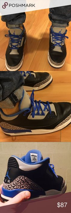 Air Jordan Sport Blue Retro III (3's) Men's Sz 11 Guaranteed Authentic Nike Product. I AM the original owner of the shoes and purchased new at foot locker in Philadelphia, PA. Shoes have been worn by myself 15 to 20 times. See pics for Condition and detail. Size Men's 11. You want that fresh ishhhhh? Check my closet because I'm the PLUG for fresh style! When all your threads are dead count on me to bring your style to life!!!!! Jordan Shoes Sneakers