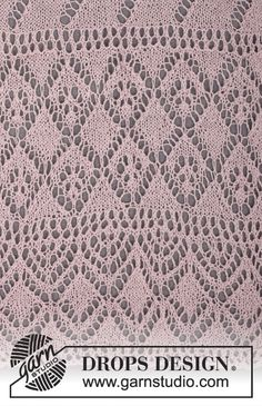 """Knitted DROPS shawl with lace pattern in """"Lace"""" or """"BabyAlpaca Silk"""". ~ DROPS Design"""
