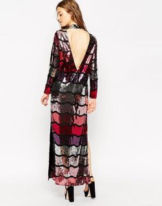 60140ac03 Image 2 of ASOS Long Sleeve Sequin Stripe Maxi Dress Striped Sequin Dresses,  Modest Dresses