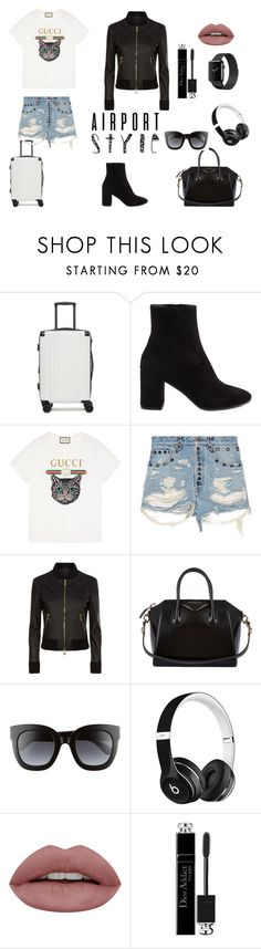 """classy yet funky"" by ayushi-chaudharyjss ❤ liked on Polyvore featuring CalPak, Balenciaga, Gucci, La Perla, Givenchy, Beats by Dr. Dre, Christian Dior and airportstyle"