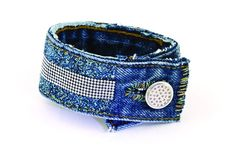 Upcycle your jeans! This bracelet by Laura Timmons is a viewer favorite from Beads, Baubles & Jewels.