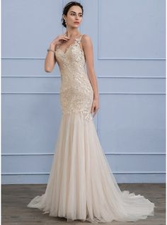 Trumpet/Mermaid V-neck Court Train Beading Sequins Zipper Up Covered Button Regular Straps Sleeveless Church General Plus No Winter Spring Summer Fall Other Colors Tulle Lace Wedding Dress