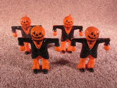 4 more plastic scarecrow candy containers (Lot from 2016) #plastic #toy #candy #vintage #halloween #collectibles