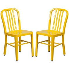 A Line Furniture Industrial Design Yellow Slat Back Metal Chair 2 Chairs