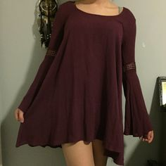 Beautiful Maroon Dress NWT perfect condition. it is small but I'm a medium and it fits me (see picture) Dresses Long Sleeve