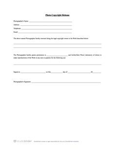 The Essentials of a Model Release Form Template | Photography ...