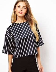 Image 1 ofASOS Shell Top with Box Sleeve in Pinstripe