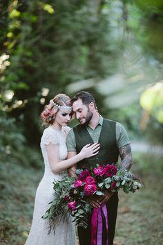 Photographer: Meredithbacon.com  Florals: Bella Bloom Florals - Sherwood, Oregon Fuchsia and plum wedding flowers  2014-11-04_0061.jpg