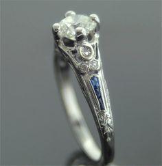 Antique Engagement Ring Platinum and Diamond by SITFineJewelry, on Etsy Antique Engagement Rings, Antique Rings, Antique Jewelry, Vintage Jewelry, Jewelry Rings, Jewelery, Women's Rings, Modern Jewelry, Diamond Rings