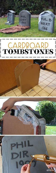 DIY Halloween Cardboard Tombstones