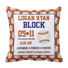 Baseball Child Delivery Announcement Pillow. ** Find out even more by checking out the photo
