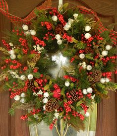 Christmas Wreath  Holiday Front Door Decor by forevermore1 on Etsy, $99.00
