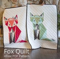 Love the oragami effect & the large size as well. Free Fox Quilt Pattern| Shwin&Shwin #twins #quilting #freepattern