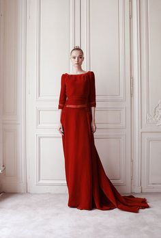 Delphine Manivet : Couture Collection AH 14 15 Couture Dresses, Bridal Dresses, Delphine Manivet, Collection Couture, Red Velvet Dress, Velvet Gown, Mode Simple, Couture Looks, Designer Wedding Dresses