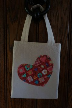 Heart Appliqued Mini Tote Bag by TheCraftyPhoenixLady on Etsy, £3.50
