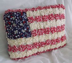 Fourth of July Patriotic Star Flag Folk Art Pillow Handmade in U s A Yo Yo Quilt | eBay