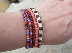 Sunset Macrame and Beaded Stretch Stacking Bracelets by Angelof2, $25.00