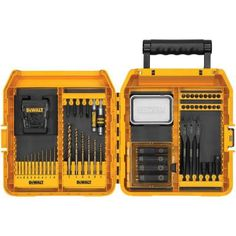 DEWALT Steel Hex Shank Screwdriver Bit Set at Lowe's. The DEWALT heavy duty 65 piece mac contractor accessory set delivers the toughness and quality you need for most professional contracting applications. Dewalt Power Tools, Dewalt Drill, Bit Set, Drill Set, Mechanic Tools, Professional Tools, Cordless Drill, Cordless Tools, Impact Driver