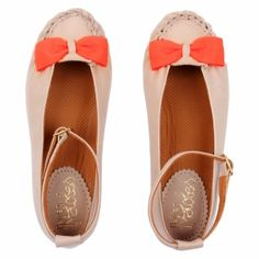 Petite Maloles Zoelie shoes in mink with a neon orange bow £43.50