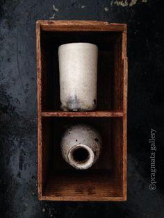 "pragmata-gallery: "" New artist at the gallery! Tall cup and sake bottle (tokkuri) by Ryutaro Yamada. 山田隆太郎さんの湯飲みと徳利です。 """