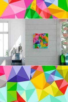 Zahlreiche Dreiecke in intensiven Farben fügen sich auf diesem Deko-Bild von Home affaire im Modern-Graphics-Stil harmonisch ineinander. Der hochwertige Druck wurde auf extra gestrichenem Glanzpapier angefertigt, das auf eienr MDF-Platte befestigt ist.