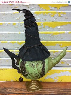On Sale Primitive Halloween Witch Teapot by Rabbithollowprims, $31.46