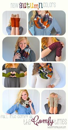 Crochet chevron infinity scarves and lacy fingerless gloves in all the best fall colors!  #crochet #theComfyTimes #autumn #chevron