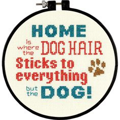 "Pet Hair Mini Counted Cross Stitch Kit-6"" Round 14 Count"