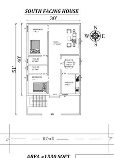 Awesome South facing House Plan As Per Vastu Shastra. Autocad DWG and Pdf file details. 1200sq Ft House Plans, 30x50 House Plans, Little House Plans, 2bhk House Plan, Small Cottage House Plans, Bungalow Floor Plans, Cottage Floor Plans, Duplex House Plans, House Layout Plans