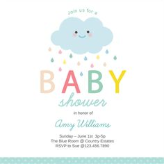 """""""Shower Cloud"""" printable invitation template. Customize, add text and photos. Print or download for free!"""