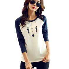 Patchwork Blanco Información Primavera Más De Acerca Azul Estilo Coreano Camisetas Larga 2016 Encontrar Casual Mujeres qUR7wvH