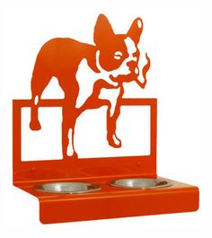 French Bulldog Puppy food and water holder, enamel painted Steel construction, mounts to the wall with provided hardware.