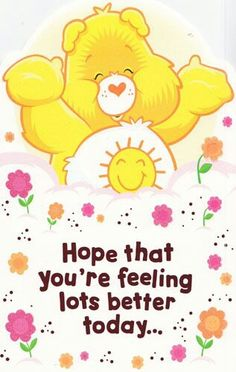 Hope that you're feeling better soon.
