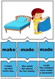 irregular verbs puzzles verb make Teach English To Kids, English Worksheets For Kids, English Lessons For Kids, Kids English, Teaching English, Learn English, English Class, English Grammar Games, English Language