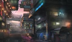 Sci Fi Cyberpunk  City Building Train Futuristic Wallpaper