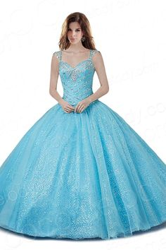 Fancy Ball Gown Sweetheart Natural Floor Length Organza Blue Sleeveless Lace Up-Corset Quinceanera Dress with Crystals COLF1401C $259.00 Quinceanera Dress, Quinceanera Dress, Quinceanera Dress, Quinceanera Dress