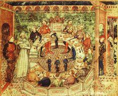 Сэр Галахад и рыцари круглого стола. Иллюстрация из карты Готье.