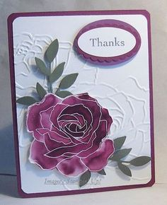 handmade thank you card ,.. gorgeous watercolored rose on a background with embossing folder rose lines ...