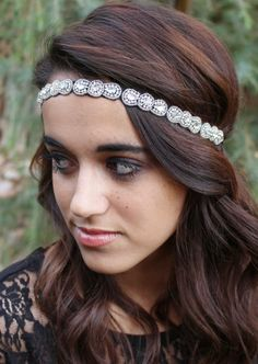 "Amazon.com : Pink Pewter ""Gemma"" Silver Beaded Stretch Band Headband Hair Jewelry #pinkpewter  http://www.amazon.com/gp/product/B00JEL1Q2W"