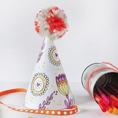 Create fun memories during your children's party with these adorable Color Your Own Party hats printable!