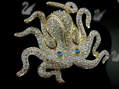 SIGNED SWAROVSKI OCTOPUS PIN~BROOCH 22KT GOLD PLATED NEW IN BOX RETIRED RARE )