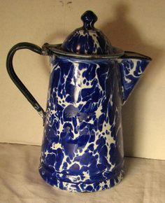 Beautiful BLUE Graniteware Enamel Coffee Pot - Cobalt Swirl