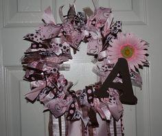 Personalized Baby Girl Nursery/Hospital Door Welcome Wreath