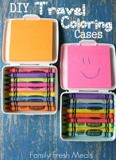 DIY Travel Coloring Case My girls love to color. Give them a pack of post-it notes, and they are busy for hours. These DIY Travel Coloring Case are a parent's live saver! Published July 2013 Written by Corey DIY Travel Coloring Case - Family Fresh Meals Car Games For Kids, Kits For Kids, Crafts For Kids, Easy Crafts, Easy Diy, Kids Travel Activities, Airplane Activities, Airplane Games, Airplane Crafts