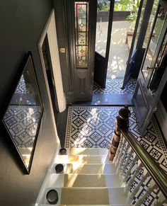 Victorian Hallway Tiles, Edwardian Hallway, Tiled Hallway, Modern Hallway, Victorian Stairs, Modern Staircase, Entrance Hall Decor, Hallway Ideas Entrance Narrow, House Entrance