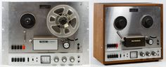 Lot 545: Teac A-1200-U and Mark VII Reel to Reel Stereo Tape Deck; Model 56139-3 on the counter sticker and #58116-1 on the back of the VU channel box; Model #A-1200, serial #109530 and a Deltronics part cover on the front; provenance: consigned by a professional producer and longtime recording artist
